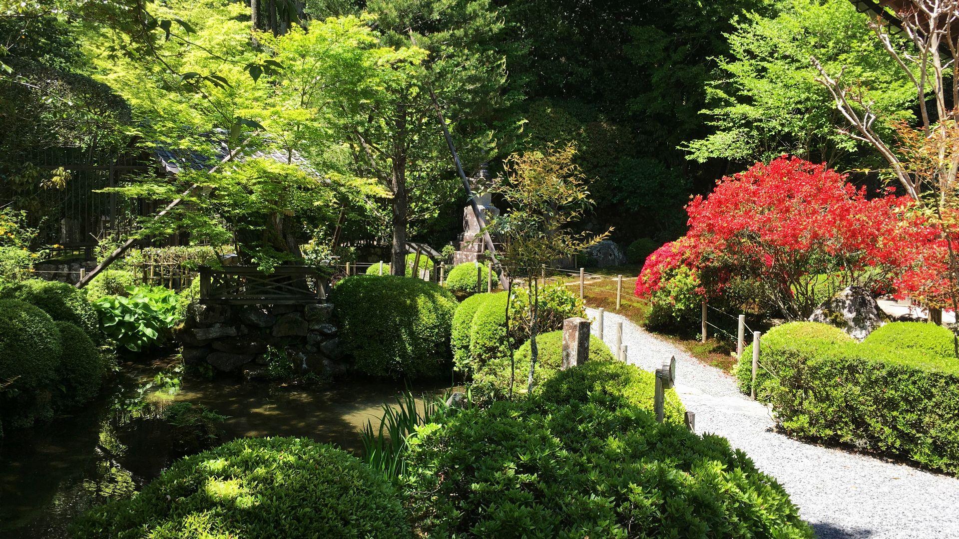 寂光院の本堂前庭