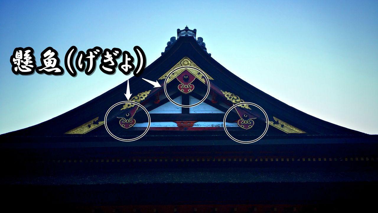 神社仏閣建築の屋根に良く見られる懸魚(げぎょ)