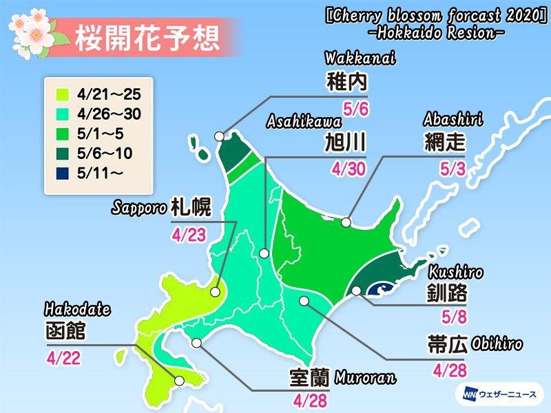 2020年度の北海道の桜開花予想(Cherry blossom forcast 2020 -Hokkaido Resion-)