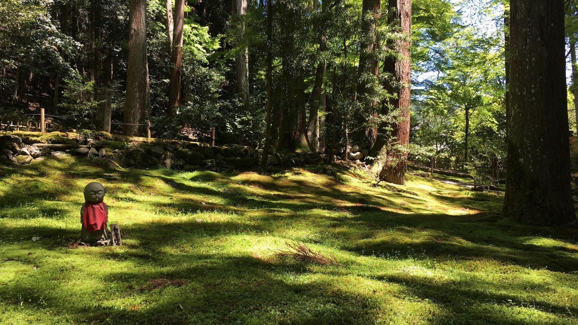 寂光院-苔庭に佇む地蔵菩薩
