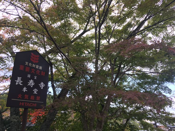 長寿寺の国宝の立て札